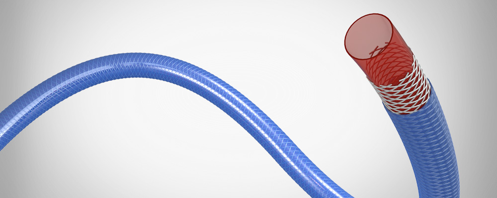 Our braid-reinforced microtubing is fabricated using the film-coat process developed for polyimide tubing